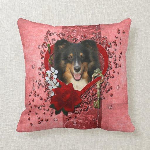 Valentines - Key to My Heart - Sheltie - Chani Pillows