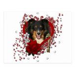 Valentines - Key to My Heart - Sheltie - Chani Postcard