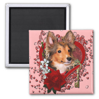 Valentines - Key to My Heart - Sheltie - Cooper Refrigerator Magnets