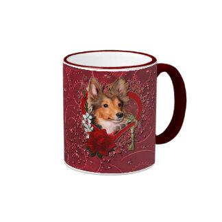 Valentines - Key to My Heart - Sheltie - Cooper Mugs