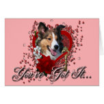 Valentines - Key to My Heart - Sheltie Greeting Card