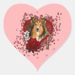 Valentines - Key to My Heart - Sheltie Heart Sticker