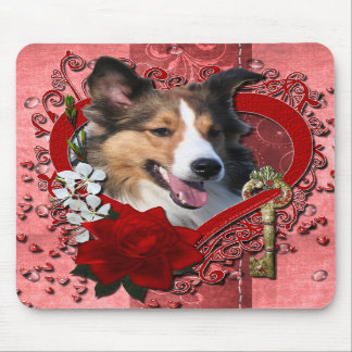 Valentines - Key to My Heart - Sheltie Mouse Pads
