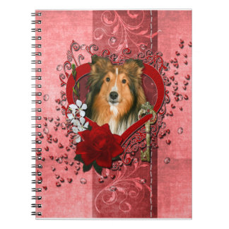 Valentines - Key to My Heart - Sheltie Notebook