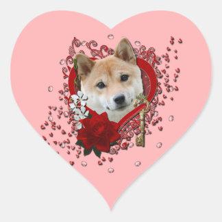 Valentines - Key to My Heart - Shiba Inu Heart Sticker