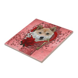 Valentines - Key to My Heart - Shiba Inu tile