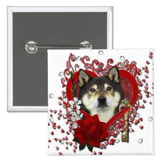 Valentines - Key to My Heart - Shiba Inu - Yasha Pinback Button