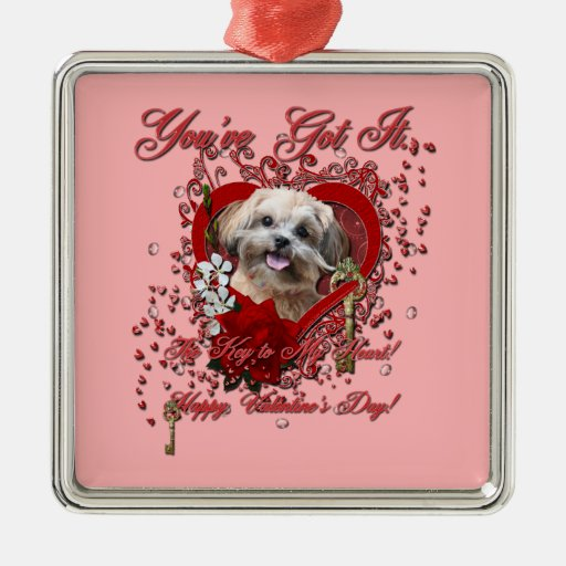 Valentines - Key to My Heart - ShihPoo - Maggie Christmas Tree Ornaments