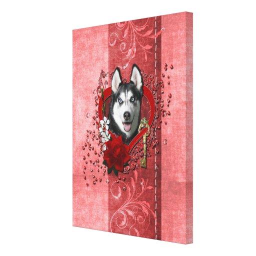 Valentines - Key to My Heart - Siberian Husky Canvas Print