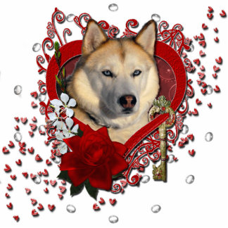 Valentines - Key to My Heart Siberian Husky Copper Photo Cut Out
