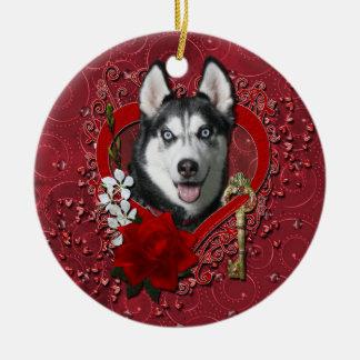 Valentines - Key to My Heart - Siberian Husky Ornament