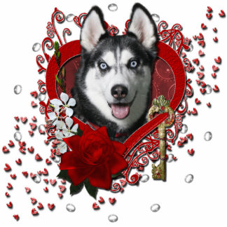 Valentines - Key to My Heart - Siberian Husky Acrylic Cut Outs