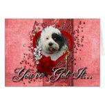 Valentines - Key to My Heart - Tibetan Terrier Greeting Card