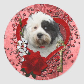 Valentines - Key to My Heart - Tibetan Terrier Classic Round Sticker
