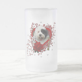Valentines - Key to My Heart - Tibetan Terrier Frosted Glass Beer Mug