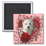 Valentines - Key to My Heart West Highland Terrier 2 Inch Square Magnet