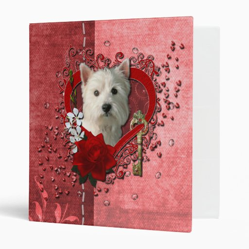 Valentines - Key to My Heart West Highland Terrier 3 Ring Binders