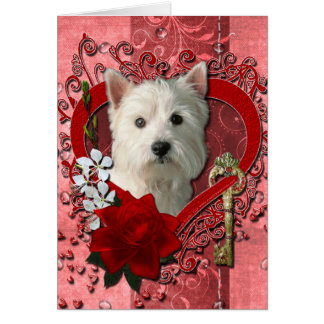 Valentines - Key to My Heart West Highland Terrier Greeting Card