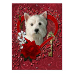Valentines - Key to My Heart West Highland Terrier Postcards