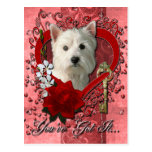 Valentines - Key to My Heart West Highland Terrier Post Card