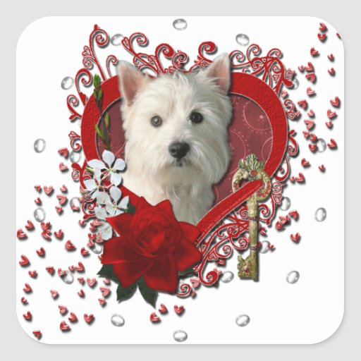 Valentines - Key to My Heart West Highland Terrier Square Stickers