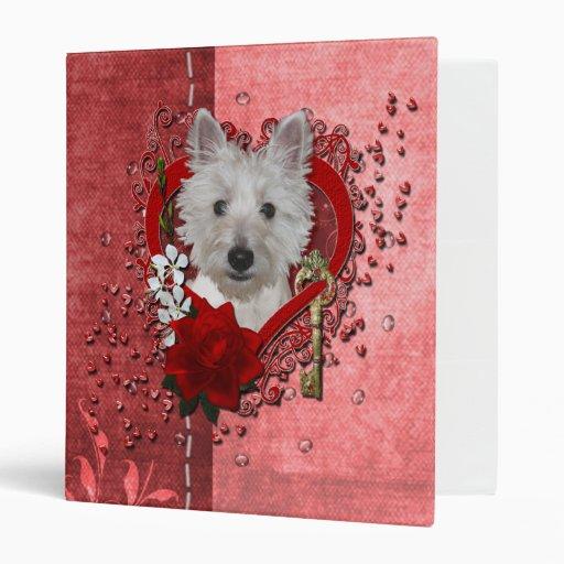 Valentines - Key to My Heart - Westie - Tank 3 Ring Binder