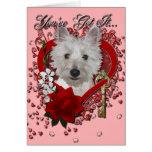 Valentines - Key to My Heart - Westie - Tank Cards