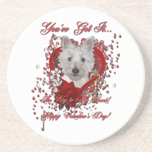 Valentines - Key to My Heart - Westie - Tank Beverage Coaster