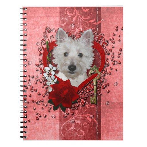 Valentines - Key to My Heart - Westie - Tank Notebook