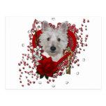 Valentines - Key to My Heart - Westie - Tank Postcard