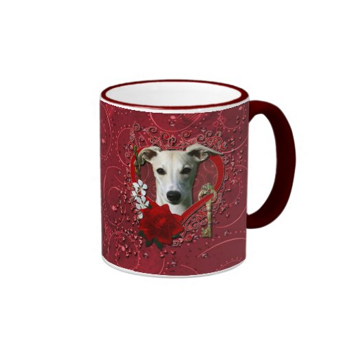 Valentines - Key to My Heart - Whippet Coffee Mugs