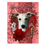 Valentines - Key to My Heart - Whippet Post Card