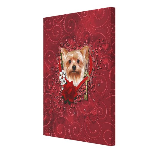 Valentines - Key to My Heart - Yorkshire Terrier Canvas Print