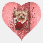 Valentines - Key to My Heart - Yorkshire Terrier Heart Sticker