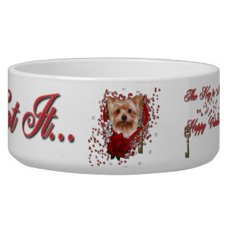 Valentines - Key to My Heart - Yorkshire Terrier Dog Water Bowl