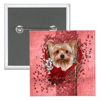 Valentines - Key to My Heart - Yorkshire Terrier Pinback Button