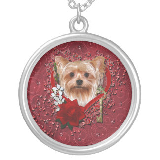 Valentines - Key to My Heart - Yorkshire Terrier Round Pendant Necklace