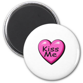 Valentines Kiss Me Heart 2 Inch Round Magnet
