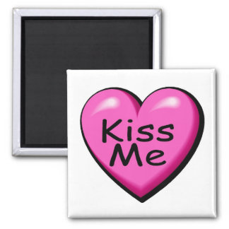 Valentines Kiss Me Heart 2 Inch Square Magnet