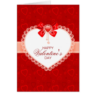 Valentines Lace Card with Lace Heart & Bow