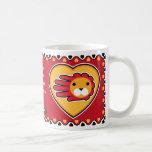 Hand shaped Valentine's Lion mug