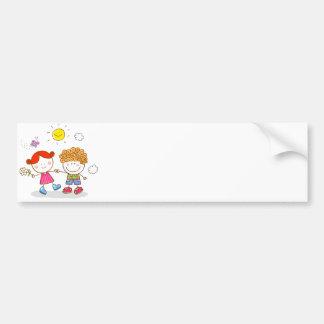 valentines little children lover couple cartoon bumper sticker