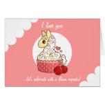 Valentine's Llama Cupcake Greeting Card