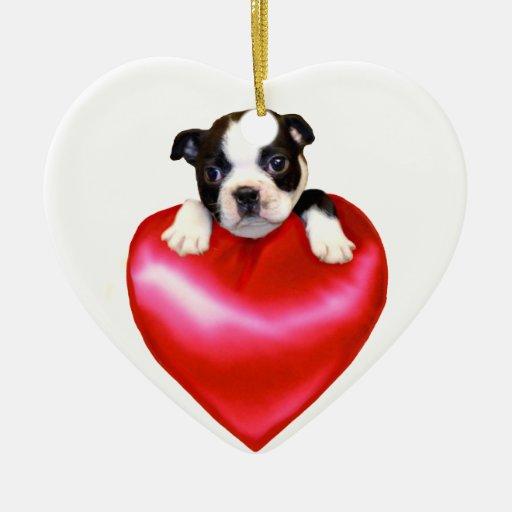Valentine's Love Boston Terrier heart ornament