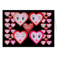 Valentines Love Candy Hearts and Faces Card