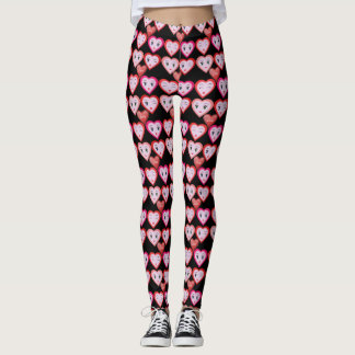 Valentines Love Candy Hearts and Faces Leggings