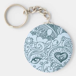 Valentines Love Doodle Basic Round Button Keychain