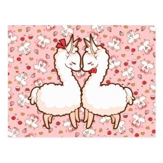 Valentine's Love Llamas Postcard