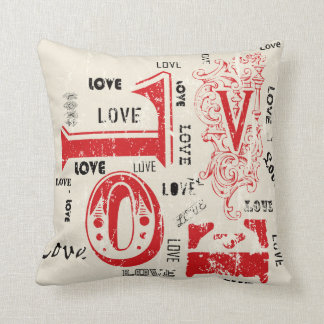 "Valentine's ""LOVE love LoVe"" Word Art Throw Pillow"