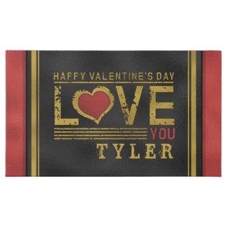 Valentine's Love You Red & Black Custom Name 45 Piece Box Of Chocolates